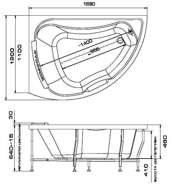 Угловые акриловые ванны - разнообразие по размерам и ценам