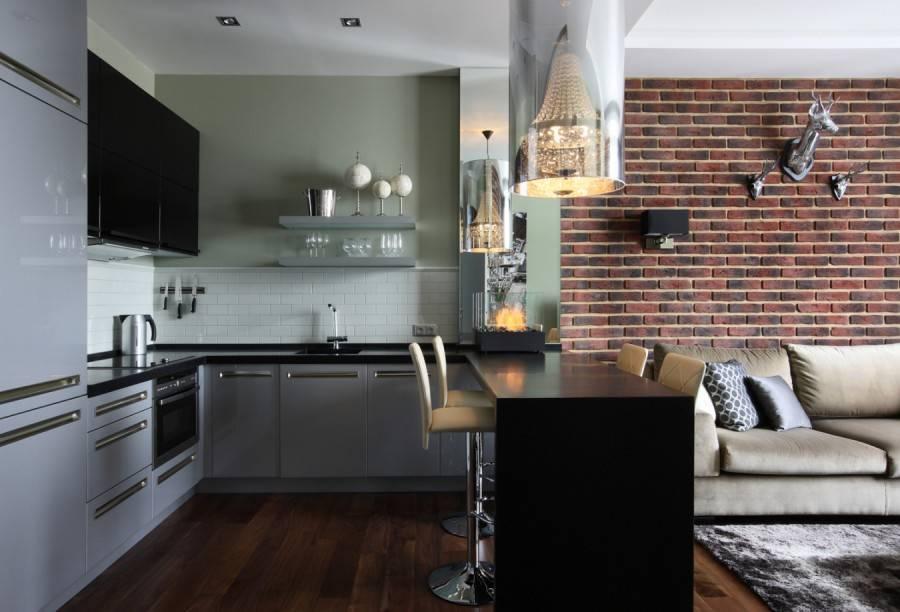 Декоративный кирпич на кухне (74 фото): дизайн кирпичных стен в интерьере кухни, варианты внутренней отделки искусственным кирпичом