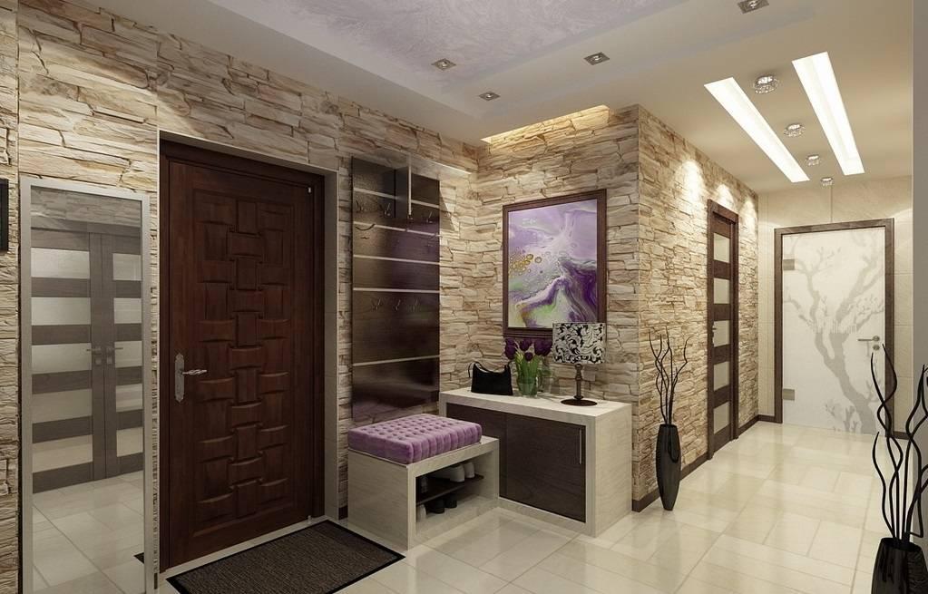 Отделка прихожей декоративным камнем и обоями: фото в интерьере