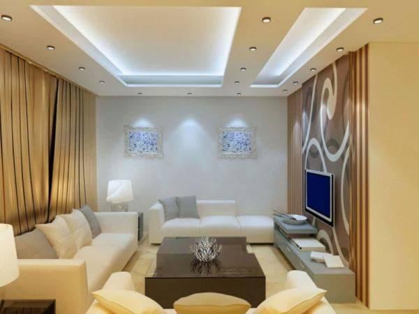 Потолки из гипсокартона для зала: разновидности, выбор, интересные решения
