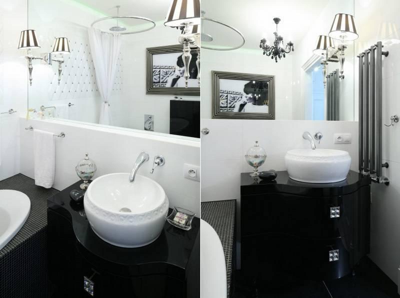Черно-белая ванная комната – лучшие фото сочетаний для интерьера