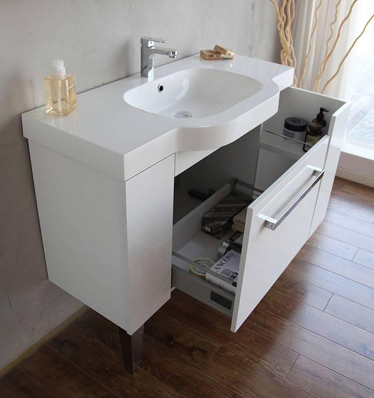 Дизайн тумбы со столешницей для ванной комнаты