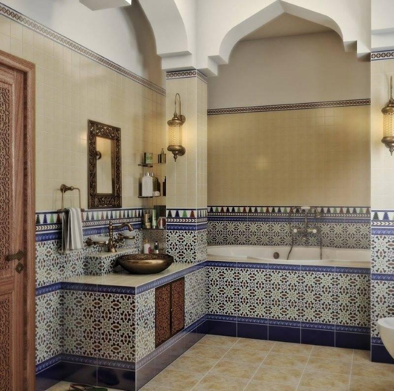 Ванна в восточном стиле: разноплановые возможности дизайна интерьера с аскетичной скромностью и богемной роскошью