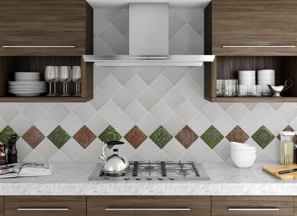 Фартук для кухни из плитки: размеры, современный дизайн, белый кабанчик  - 28 фото