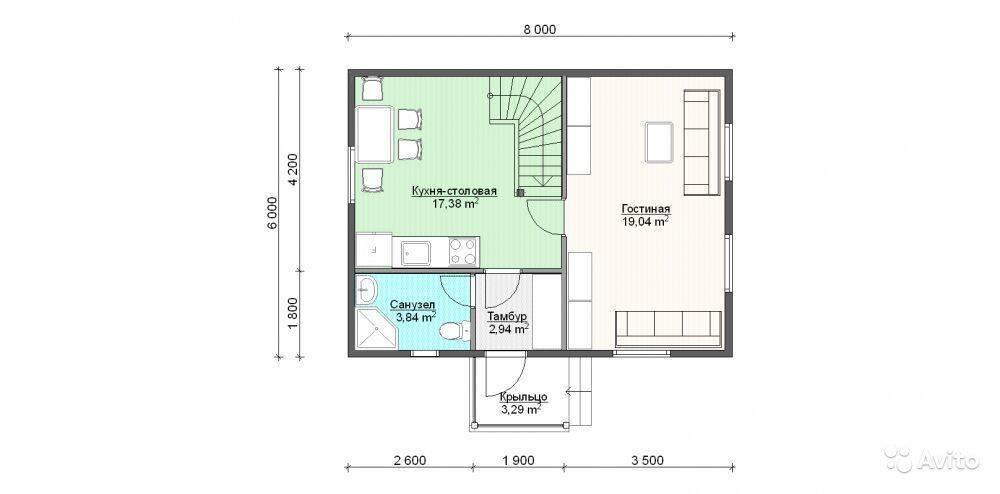 Проекты двухэтажных домов размером 6 на 8