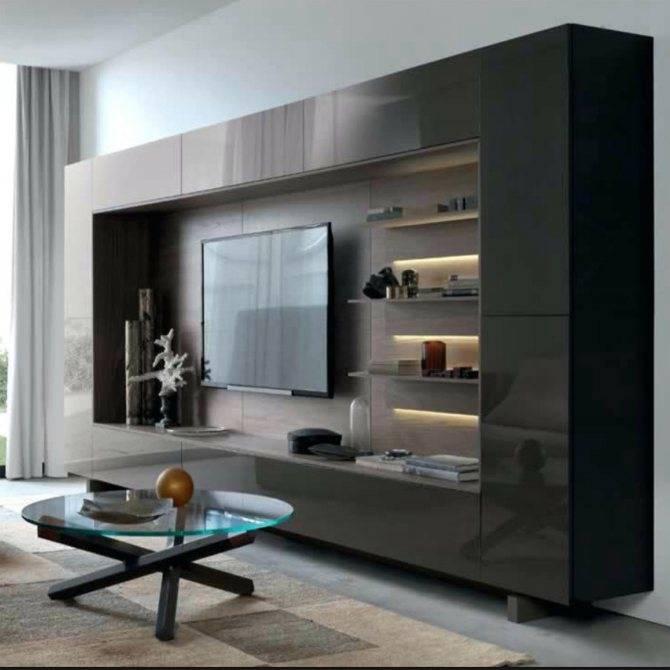 Глянцевые стенки для гостиной (31 фото): двухсторонние белые и черные модели из мдф