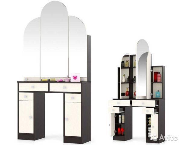 Трюмо и трельяжи в спальню: размеры угловых зеркал, белое трюмо и модели других оттенков