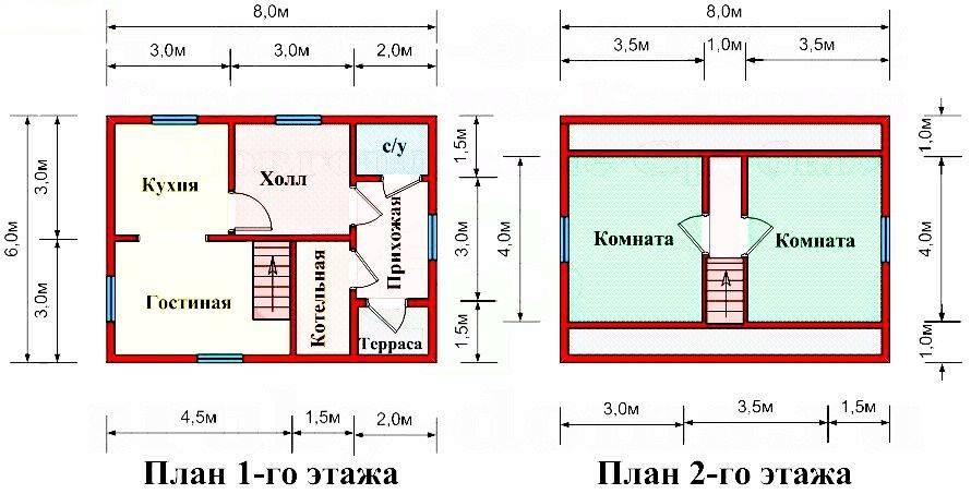 Дом 6 на 8: планировки, проекты с мансардой одно и двухэтажных домов