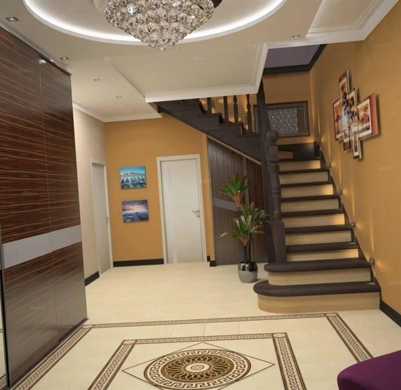Дизайн прихожей, коридора в частном деревянном доме с окном: интерьер, варианты отделки стен, проект  - 44 фото