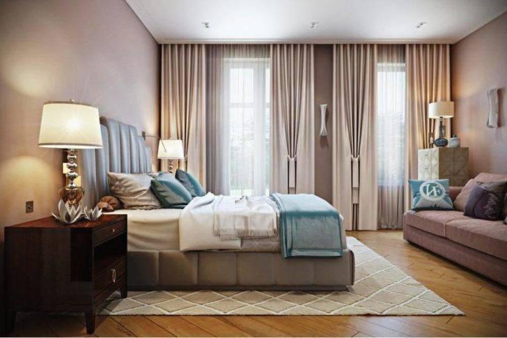 Спальня с двумя окнами на одной и разных стенах