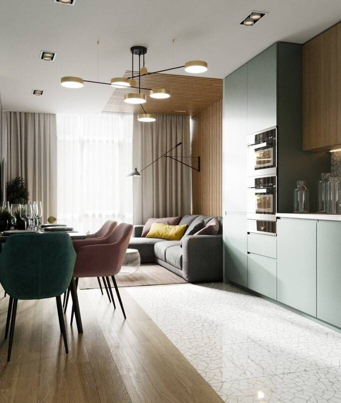 Модные тенденции: 4 стиля для кухни-гостиной 15 кв м, дизайн и фото