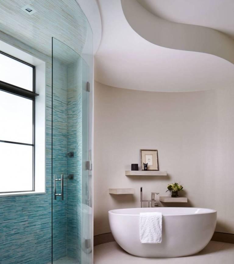 Варианты дизайна потолка в ванной комнате