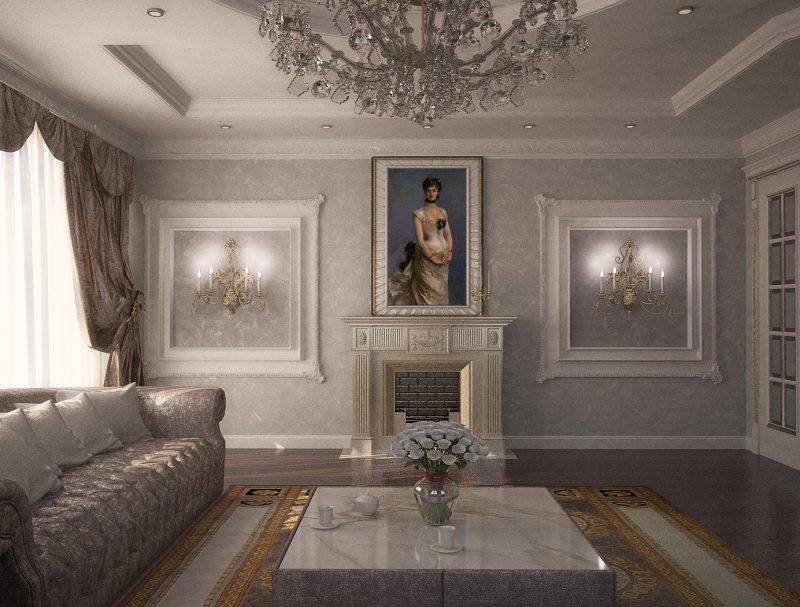 Лепнина на стенах: художественный декор из гипса в интерьере, полиуретановые рамки  - 31 фото