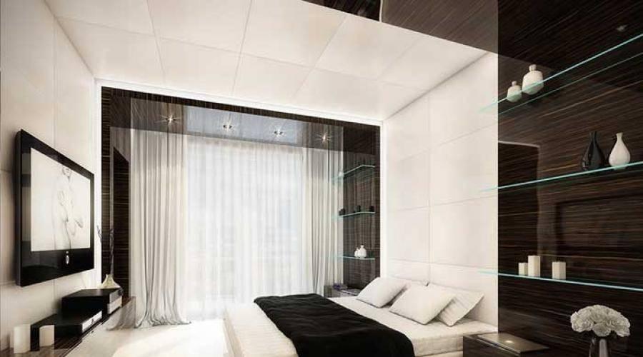Спальня в стиле хай-тек (85 фото): дизайн интерьера комнаты, спальный гарнитур и другая мебель, люстра и шкаф для маленькой спальни