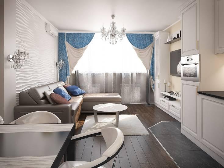 Дизайн кухни 12 кв. м с диваном