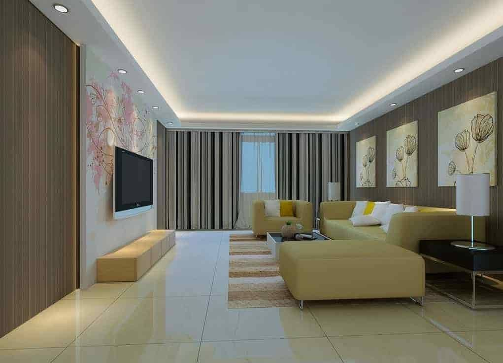 Фото натяжных потолков в зале с люстрой и светильниками - лучшие варианты в интерьере