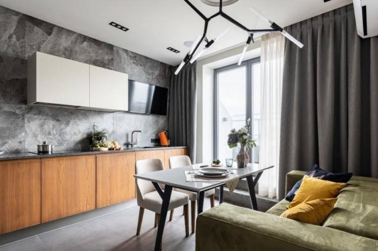 Современный дизайн кухни-гостиной площадью 20 кв. метров