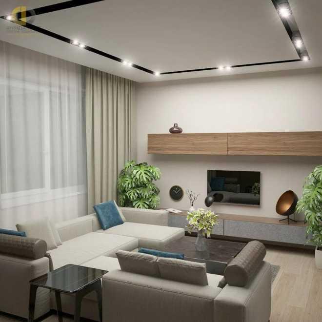 Натяжной потолок в зале - современный дизайн с лучшими примерами