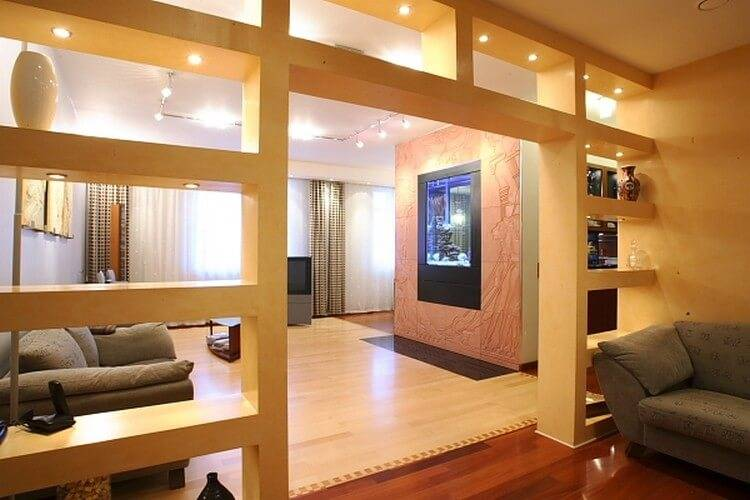 Перегородки из гипсокартона 45 фото: красивые декоративные, межкомнатные | зонирование кухни, гостиной, ванной комнаты - дизайн