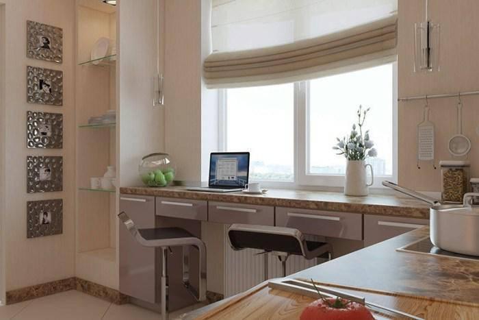 Подоконник-столешница: оформление на маленькой кухне, как использовать дизайн переходящий в стол вместо окна, барная стойка в комнате