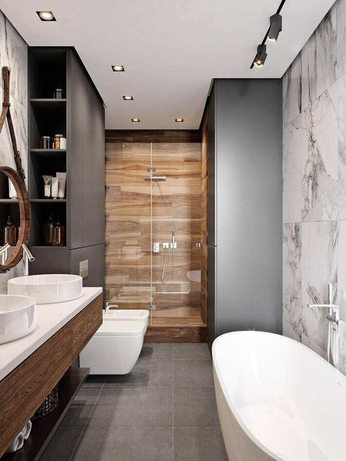 Красивый дизайн современной ванной | интерьер в современном стиле