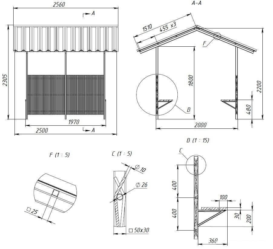 Как построить беседку своими руками на даче из профильной трубы, фото, чертежи