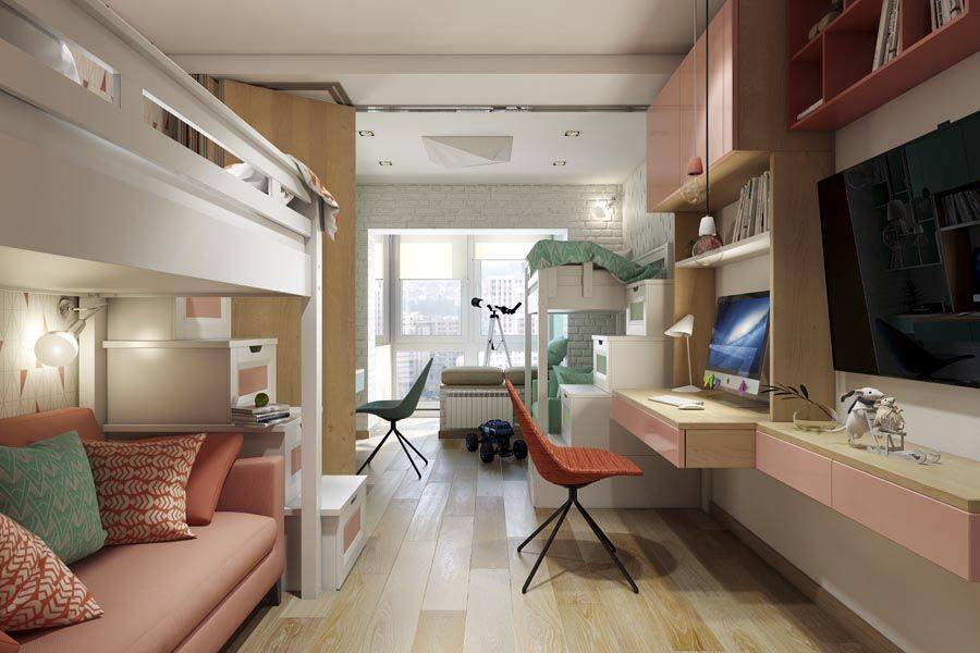 Детская комната для двоих детей (68 фото): дизайн-проекты, идеи обустройства