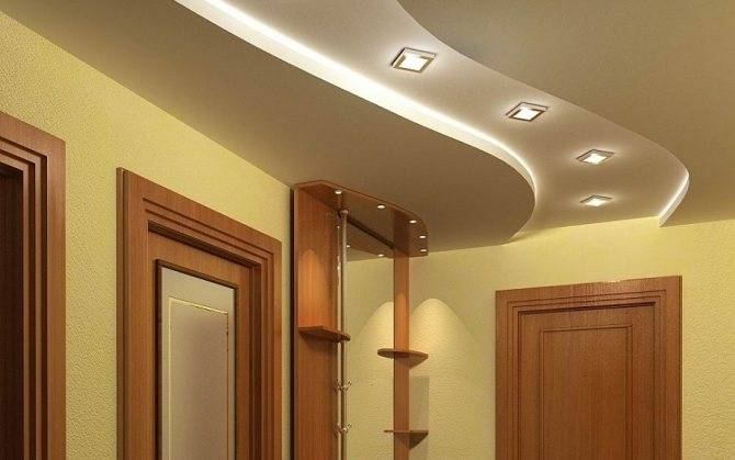 Коридор с потолком из гипсокартона — варианты дизайна