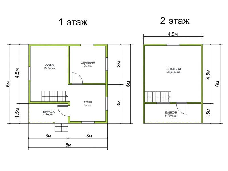 Планировки домов 6 на 8: зонирование пространства и варианты типовых решений
