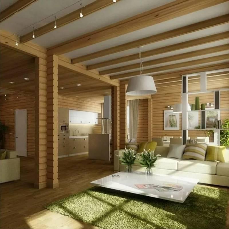 Интерьер дома из бруса внутри: примеры стильных интерьеров – фото дизайна по комнатам