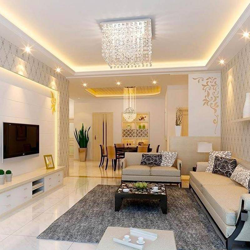 Современный дизайн потолка в гостиной | красивые интерьеры потолоков