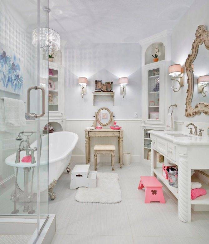 Дизайн ванной комнаты в стиле шебби-шик фото и описание