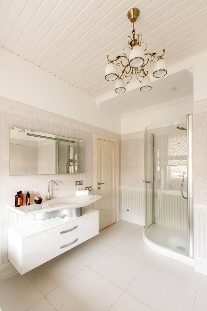 Потолок в ванной комнате: виды отделки по материалу, конструкции, цвет, дизайн, освещение
