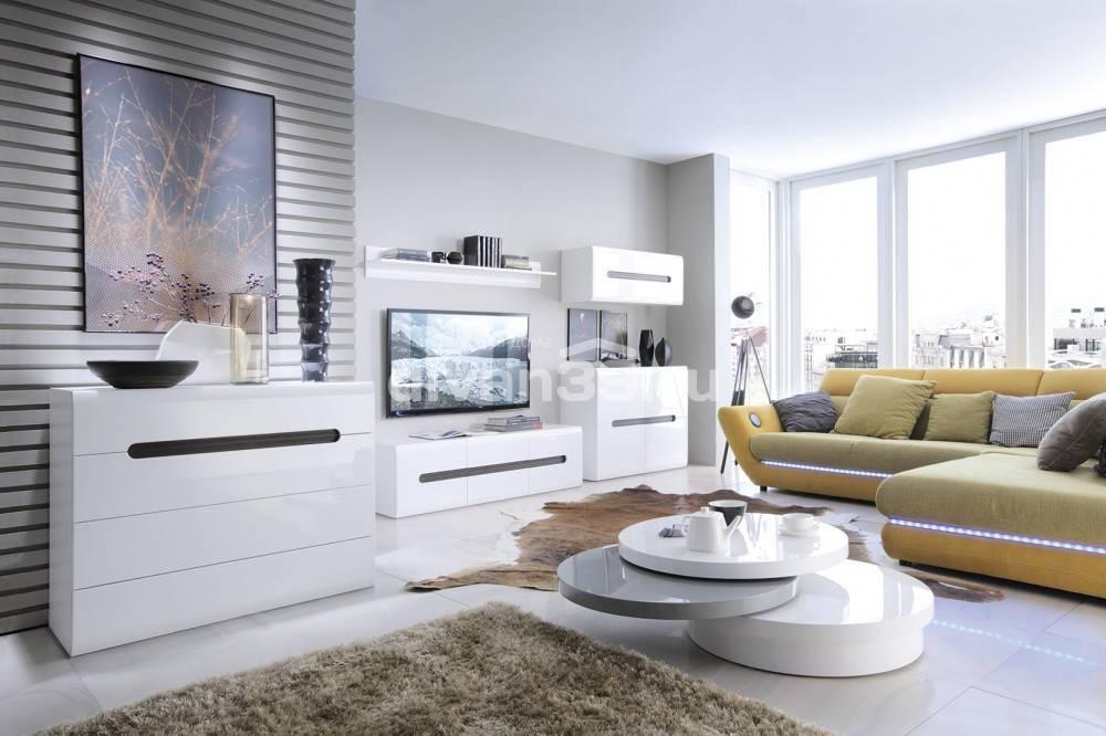 Глянцевая стенка для гостиной (33 фото): двусторонние модели из мдф черных и белых цветов