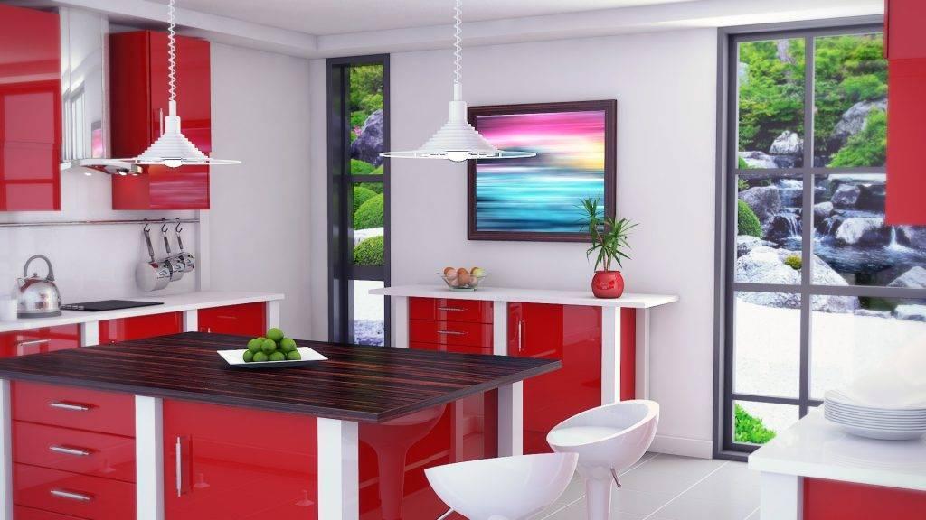 Красно-белые кухни: выбираем оптимальный дизайн интерьера и гарнитура
