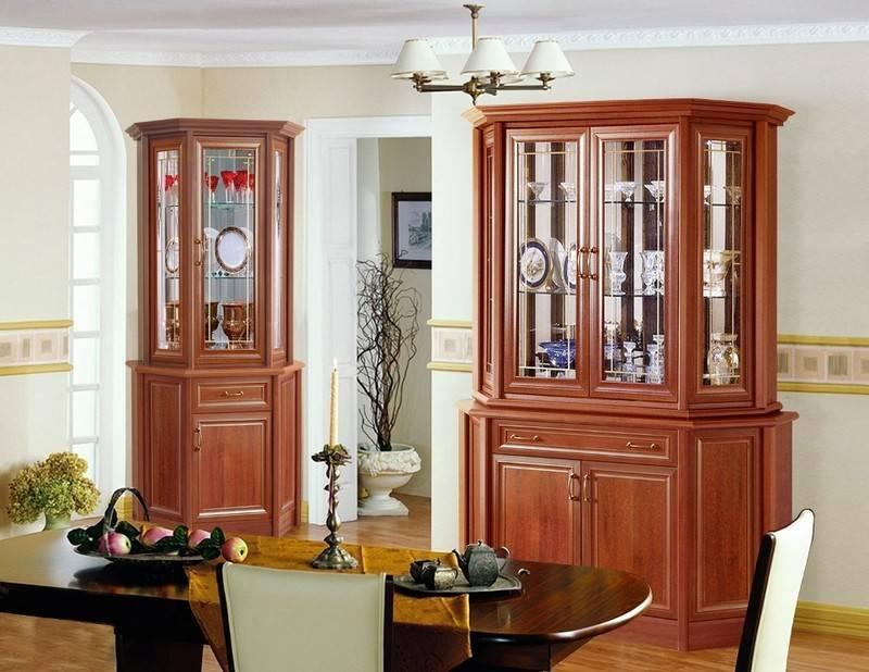 Сервант для посуды в гостиную (40 фото): буфеты, витрины, угловых шкафов в интерьере