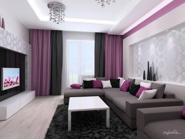 Фиолетовый диван (63 фото): угловые и прямые модели в интерьере, темно- и серо-фиолетового цвета, шторы и обои к фиолетовому дивану