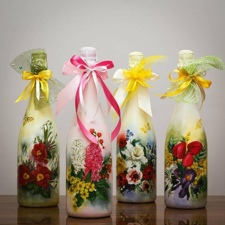 Декорирование бутылки к 8 марта - «декор» » «дизайна интерьера»
