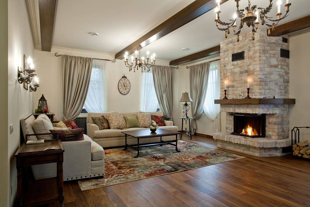 Интерьер гостиной в частном доме - фото идей