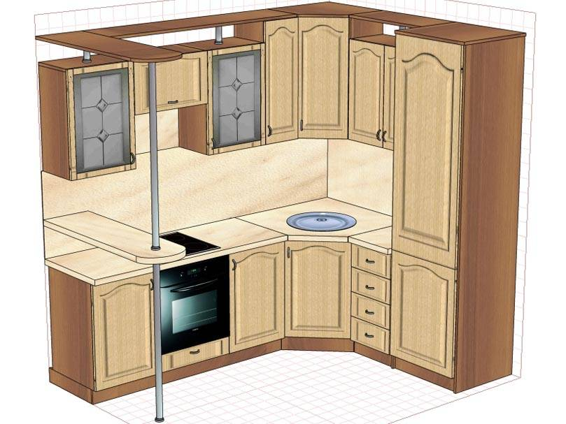 Варианты дизайна кухонных гарнитуров эконом-класса