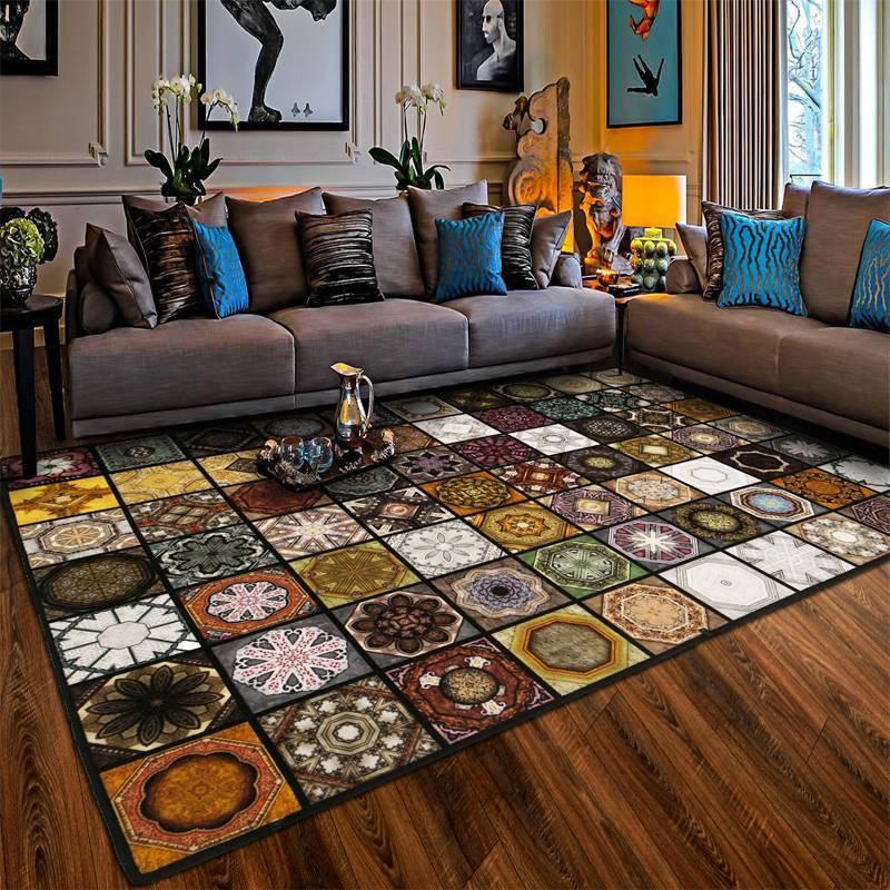 Примеры интересных вариантов напольных ковров для зала