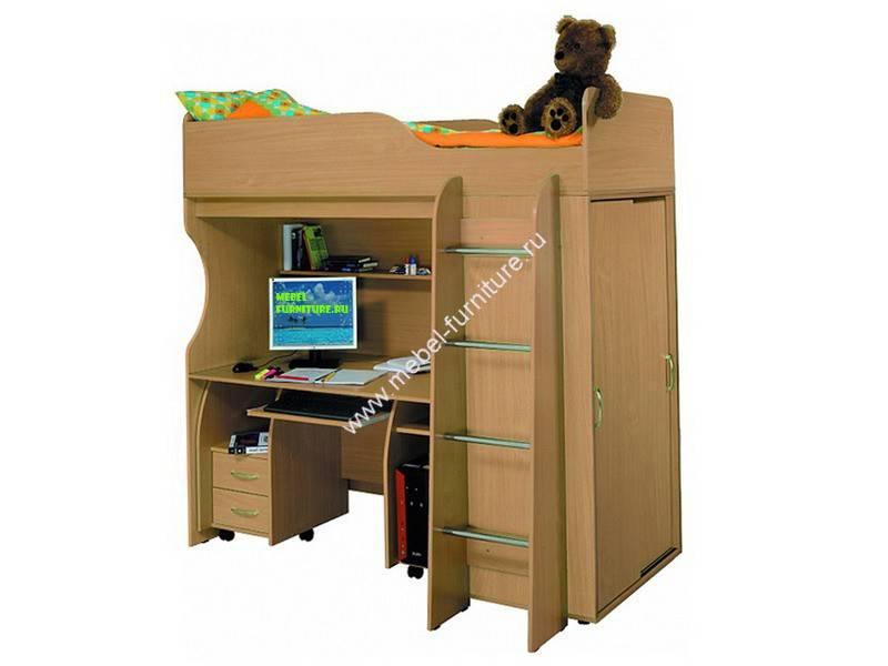 Кровать-чердак для подростка с рабочей зоной