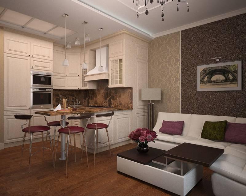 Дизайн кухни — гостиной 15 кв м — вариант планировки с диваном и зонирования