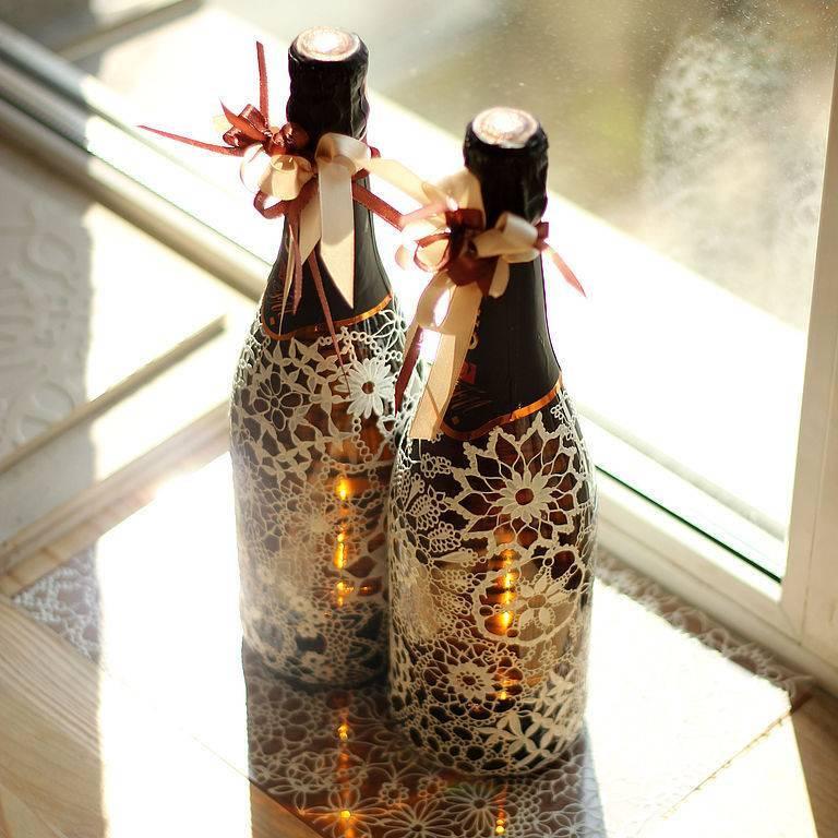 Декор бутылок — идеи создания декоративных бутылок своими руками. схемы техник декорирования + 100 фото-обзоров