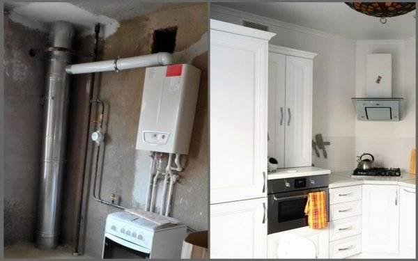 Как спрятать газовый котел на кухне в шкаф и гарнитур: идеи с фото