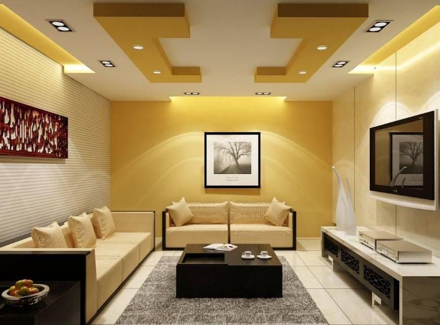 Примеры красивых гипсокартонных потолков в зале