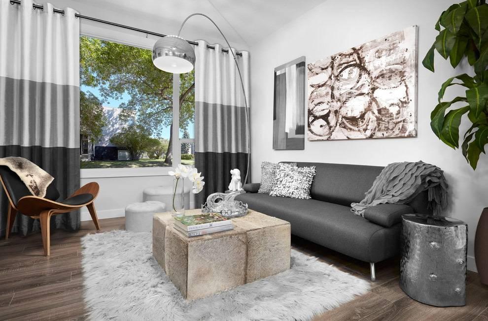 Серые шторы: в интерьере гостиной и спальни, сочетание с другими цветами