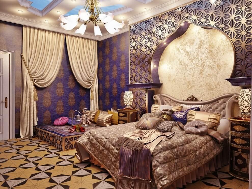 Спальня в восточном стиле: дизайн интерьера, выбор мебели и декора