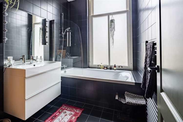 Черно-белая ванная комната (68 фото): дизайн ванной в черном и белом стиле, примеры в «хрущевке», черно-белый пол в маленькой ванной