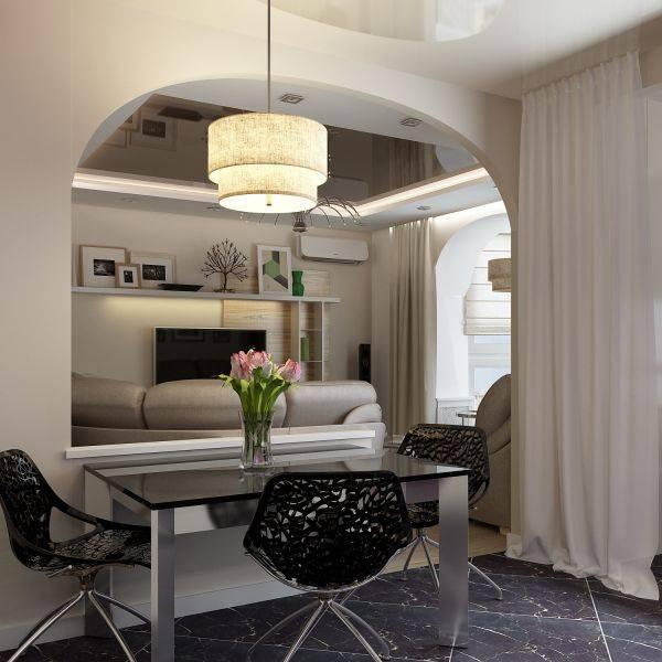 Арка между кухней и гостиной — фото примеров оформления интерьера